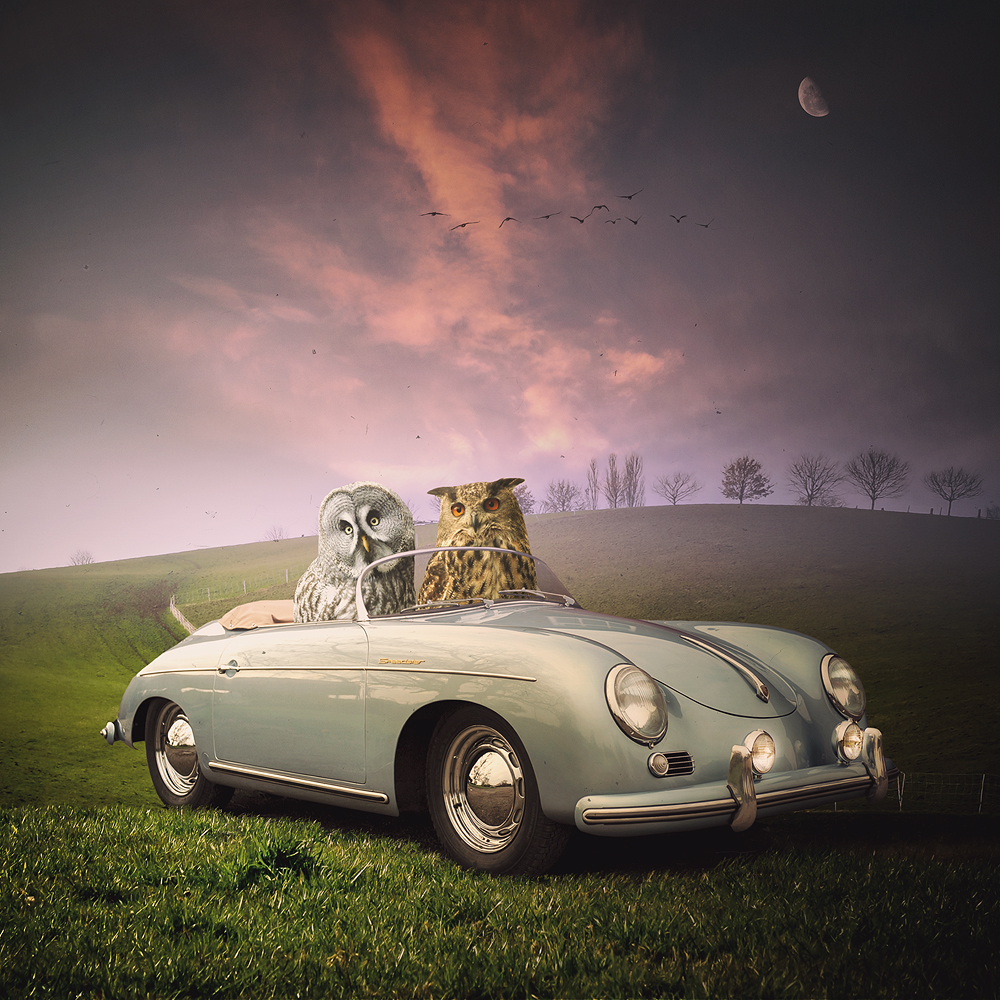 Porsche speedster, fotomontaż, surrealizm, wydruk,fotografia, photomontage,surrealism,digital art